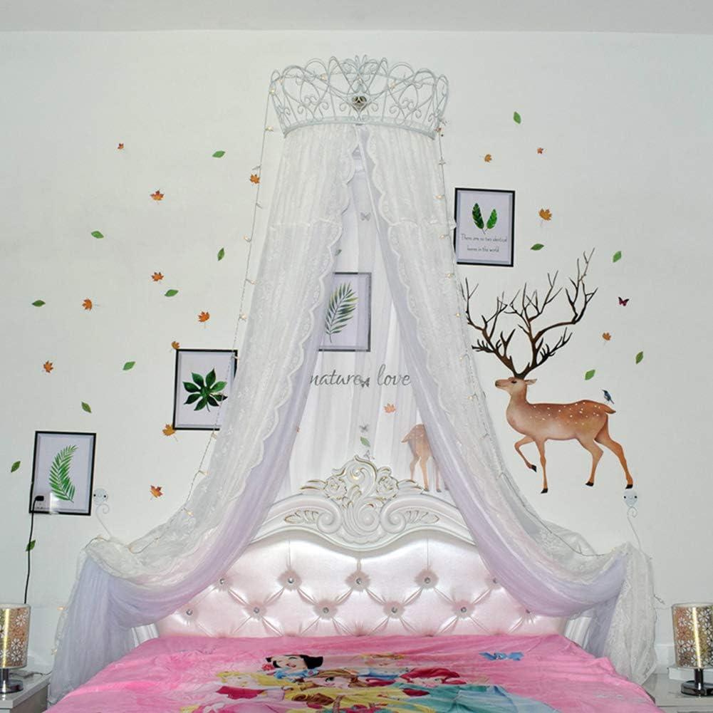 レースベッドキャノピー,皇太子妃 ダブル カラー ベッド カーテン 装飾的なドレープメタルクラウンと寝室のためのライトと裁判所の蚊帳-k