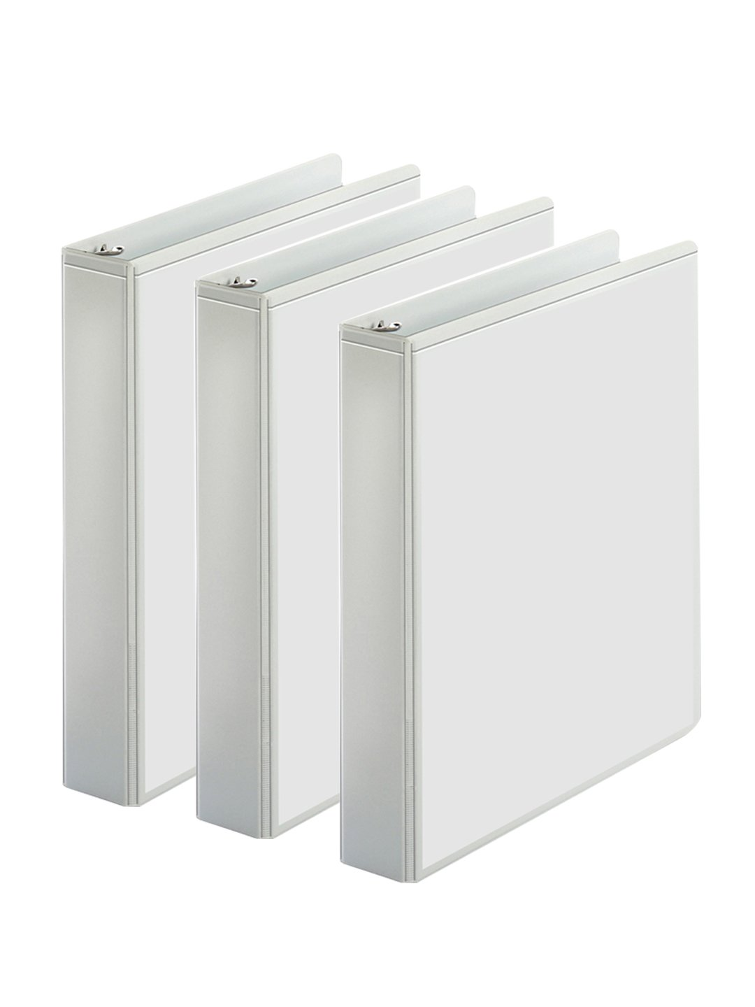 3-Ring Binder, Presentation View Binders - 2 Interior Pockets - Easily Organize Projects, presentations, and More - Clear Front for Easy Customization - Holds 350 Sheets - 3-Pack (1.5-inch, White)