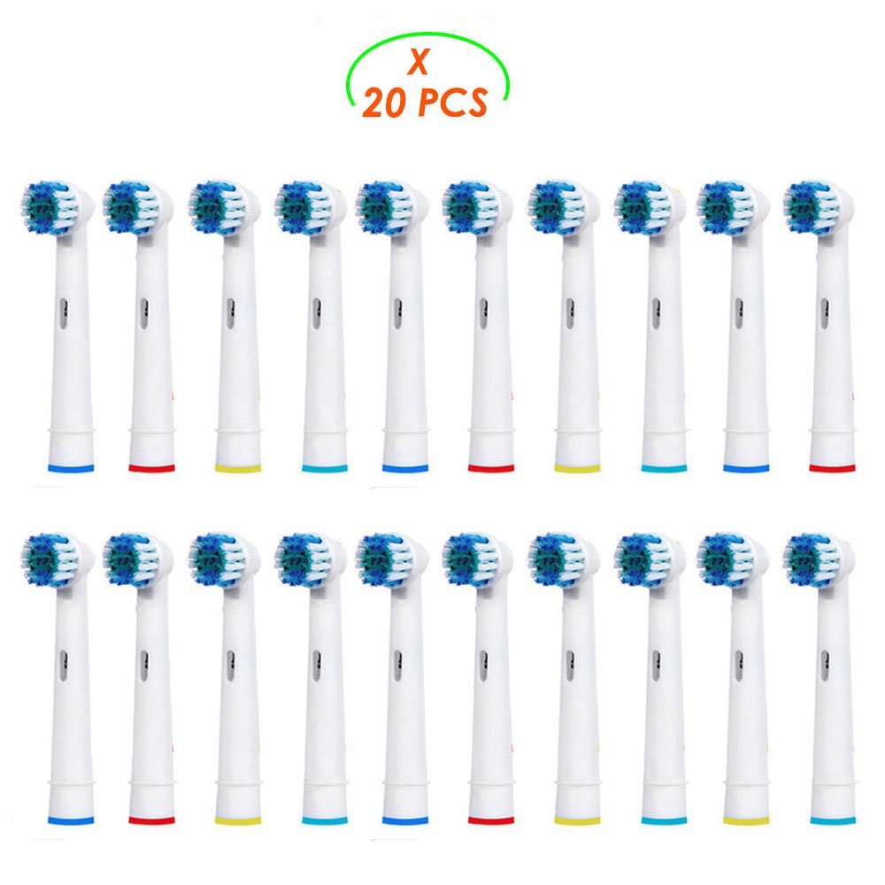Replacement Brush Heads Compatible with Oral b Braun Electric Toothbrush - 20 Pack of Brush Heads by Bixshell