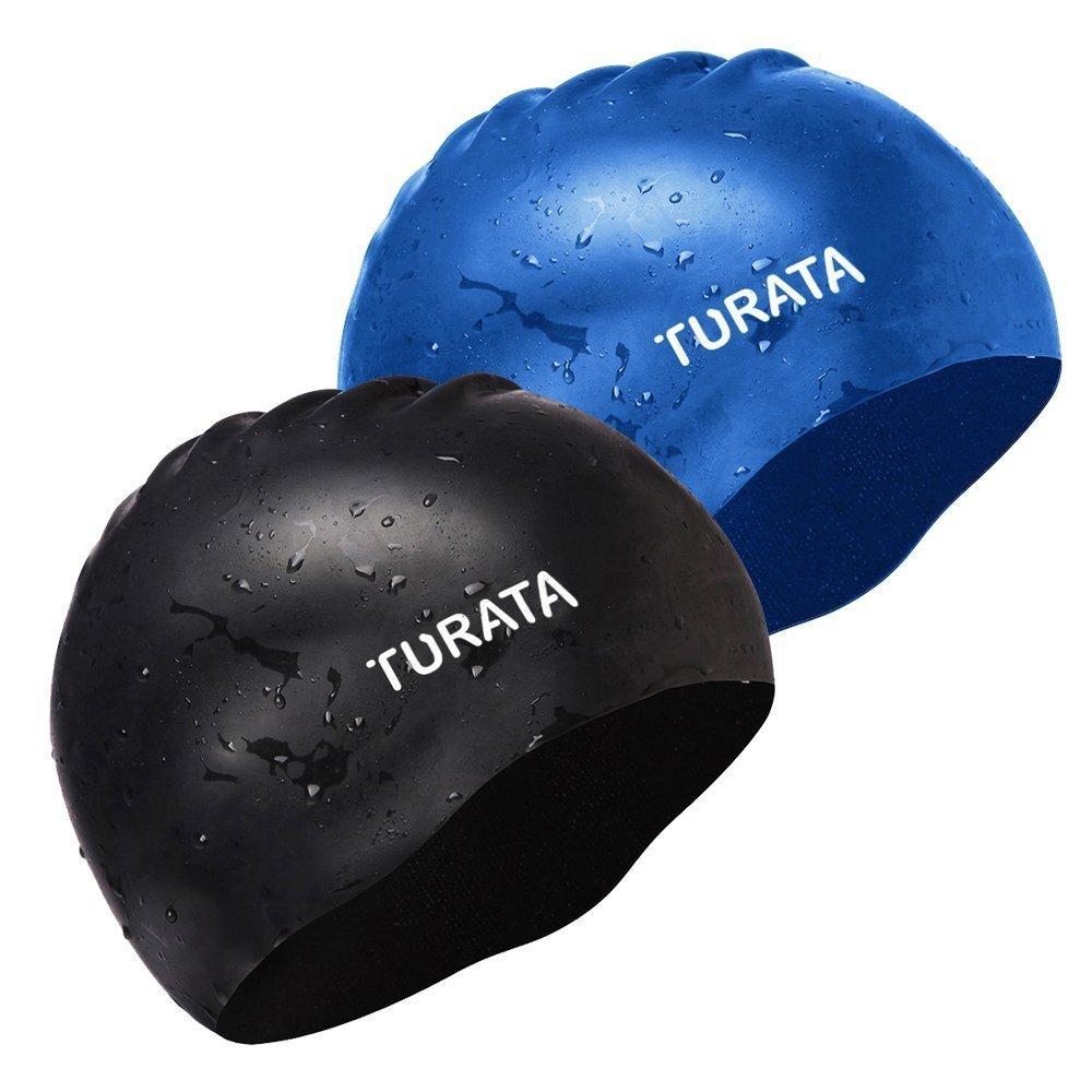 2Pcs Swimming Caps, Turata Comfortable Unisex Silicone Swim Caps with Full Ear Protection for Men Women Youth Kids, Black+Blue (Antislip)