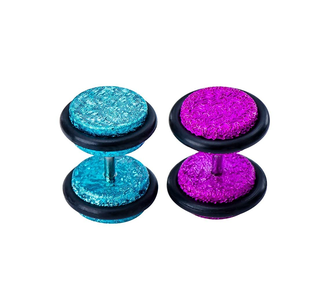 Holy Plug Piercing Value Pack 2PC 16g Stainless Steel Acrylic Enameled Coverd Stars Fake Tunnel Plug Ear Studs