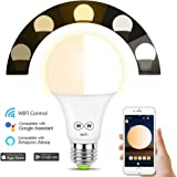 HAODENG WIFI スマート LED電球 電球色&昼光色 AlexaとGoogle Homeで使用 玄関灯 寝室照明 非常灯 目覚め タイマー機能 APPコントロール グループ化管理 E26 50W相当