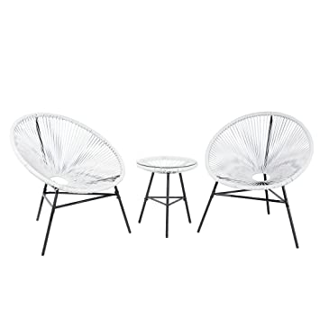 Table et 2 chaises de Jardin Blanc Acapulco: Beliani: Amazon ...
