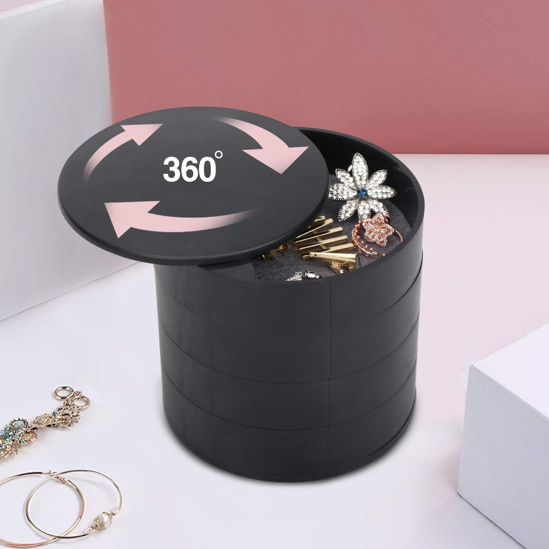 Allinside Caja Joyero Organizador para Mujer Ni/ña Negra Caja para Joyas de Almacenamiento de 4 Niveles para Anillos Aretes Pendientes Pulseras Collares