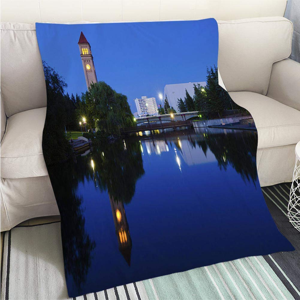 BEICICI Super Soft Flannel Thicken Blanket Clock Tower During Nighttime at Riverfront Park in Spokane WA Fashion Ultra Cozy Flannel Blanket by BEICICI