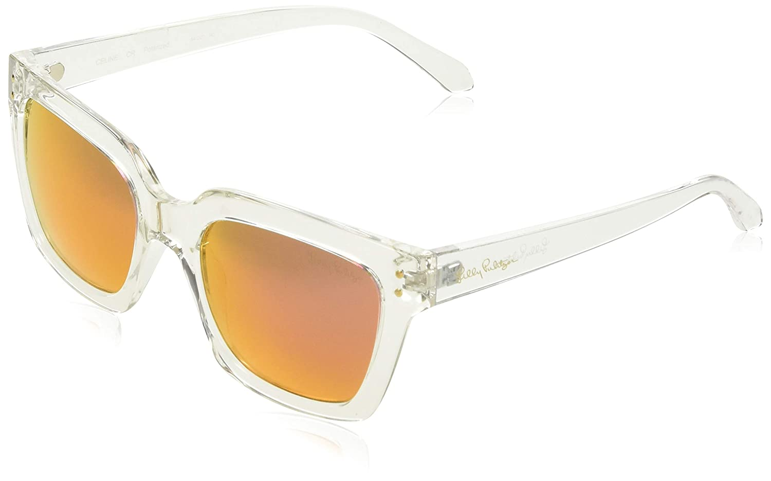 ea3569bedd Amazon.com  Lilly Pulitzer Women s Celine Polarized Square Sunglasses  Crystal Clear 54 mm  Clothing