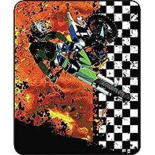 Motorcross Racing Dirtbike Checkered Flag Faux Fur Throw Blanket