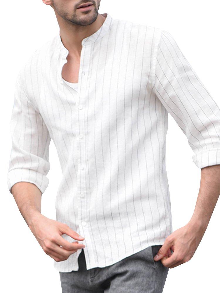 Puwany Mens Long Sleeve Linen Stripe Casual Top Henley Shirt