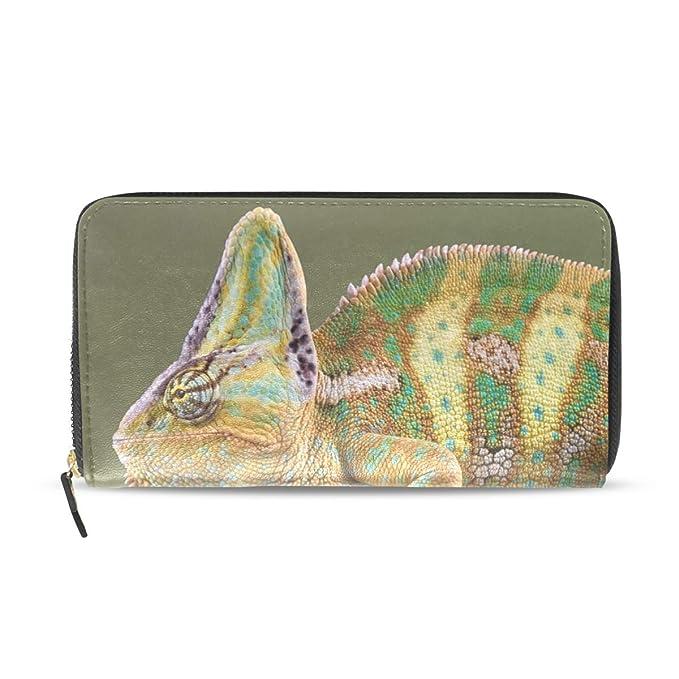 30efde0f00d7 Women Wallet Purse Chameleon Walk Tree Branch Clutch Bag Zipper ...
