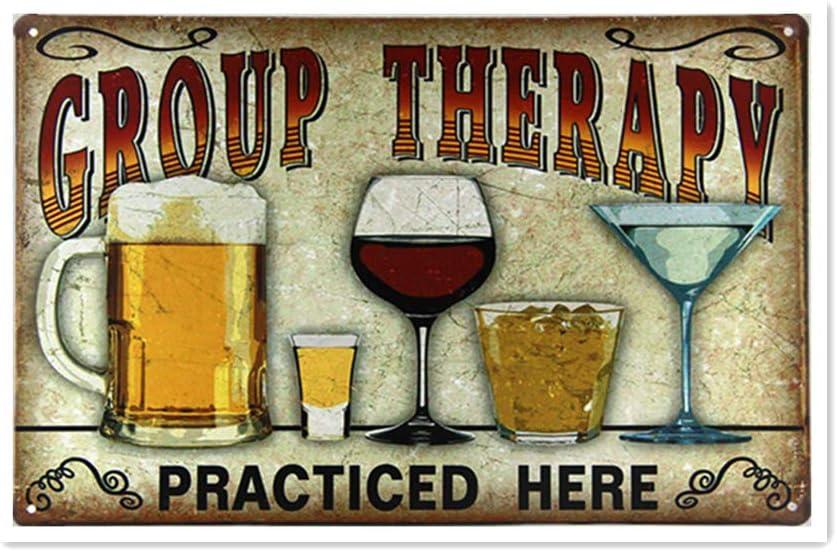 aoeiu Group Therapy Beer Cartel de Metal Decoración de la Pared ...