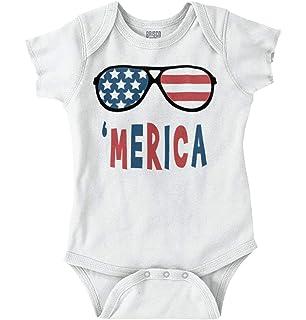 4ab40987f0 Brisco Brands Funny American Flag Glasses Patriotic Pride Romper Bodysuit