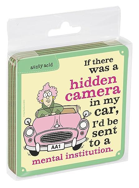 Aunty Acid Hidden Camera EC96546 Tree-Free Greetings Set of 4 Cork-Backed Coasters 3.75 x 3.75 Inches