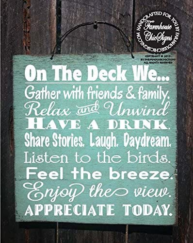 Welcome To Our Deck Engraved Sign inspirational distressed wood positivity