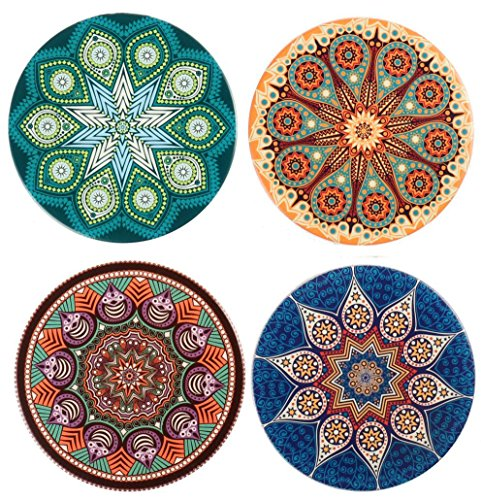 4 Pack Coasters for Drinks Absorbent,Coffee Mugs Mats Ceramic Stone Coasters with Cork Base,Prevent Furniture from Dirty and Scratched,Perfect Housewarming Gifts,4