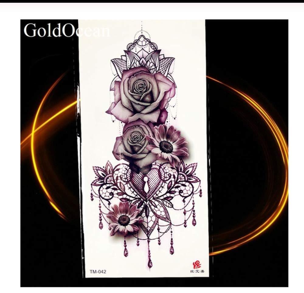 HYTGF Tatuaje Temporal Etiqueta engomada Colgantes de Moda Flor ...