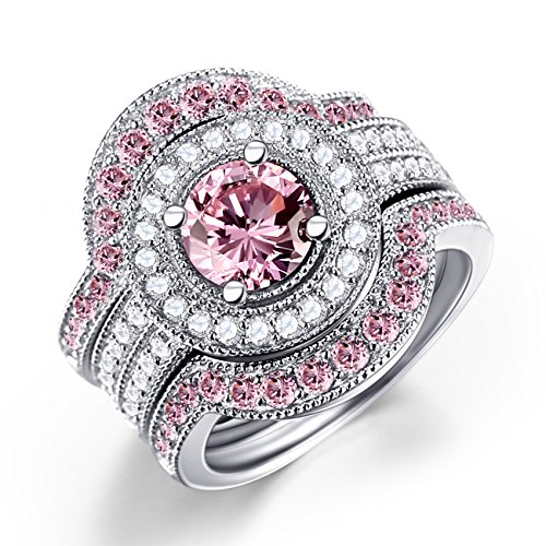 CZ Diamond & Created Pink Sapphire Bridal Ring Set 3 Piece Sterling Silver Engagement Wedding Ring Set Size 6