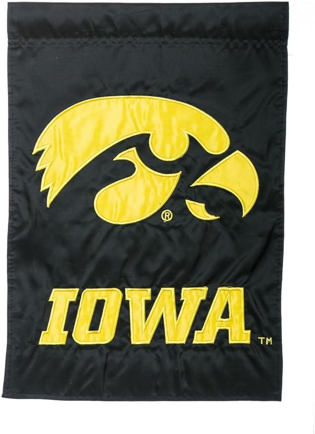 "Team Sports America NCAA Iowa Hawkeyes Black 17.5"" x 12.5"" Applique Garden Flag"