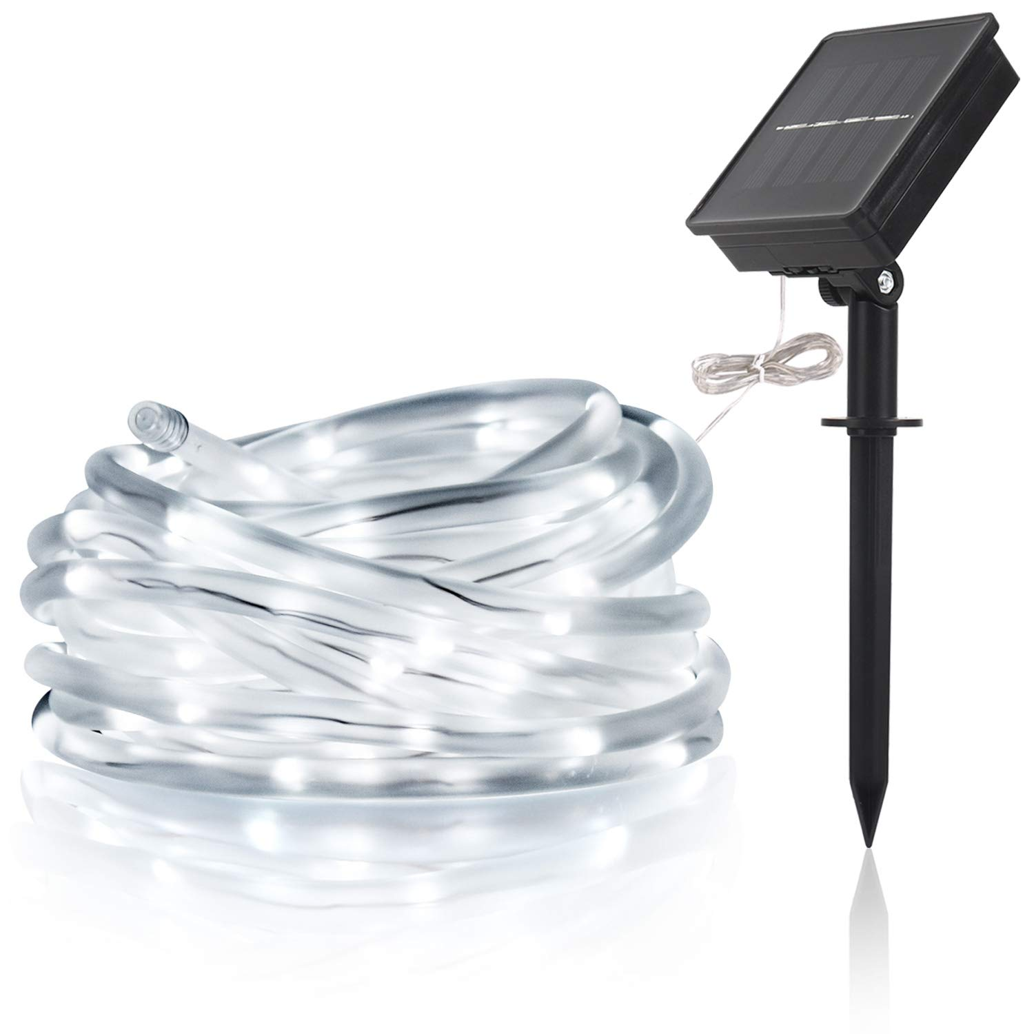 LTE Solar LED String Light Solar Powered Rope light Waterproof IP55 Cool White 6000K 33ft 100 LEDs, Decoration Light for Gardens, Patios, Homes, Parties