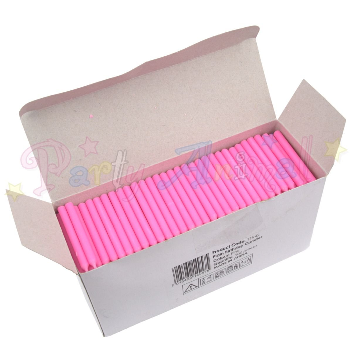 Bulk Pack of Plain Birthday Candles or Holders - Packs of 500 - Cake decoration accessories (Pink Candles)