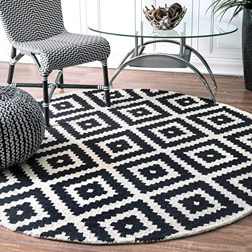 - nuLOOM Contemporary Kellee Diamond Wool Rug, 6' Round, Black