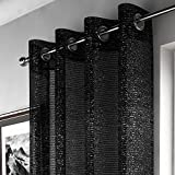 Mirabel - Pan de rideau style voilage - effet scintillant - accroche oeillets - Noir - l 140 x L 183 cm