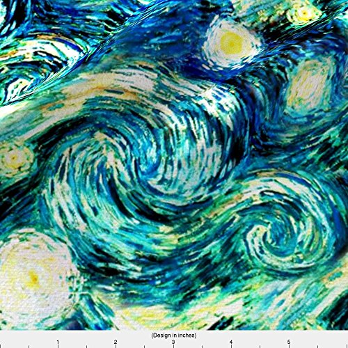 Spoonflower Van Gogh Fabric - Starry Night Sky Swirly Stars From Van Gogh's Painting (Sky Only - Large Version) by bohobear - Printed on Basic Cotton Ultra Fabric by the Yard by Spoonflower