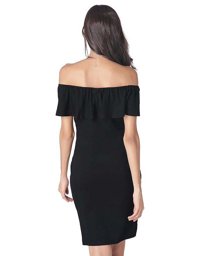 Ostenx Vestido Atractivo para Mujer Apretado del Hombro Vestido de Noche sin Tirantes - Color Negro (M): Amazon.es: Ropa y accesorios