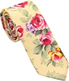 Men's Printed Floral Cotton Necktie - Casual Fashion Flower Slim Neck Ties