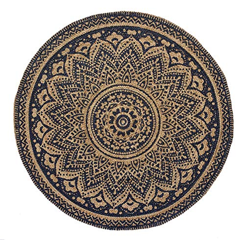 HF by LT Isabella Printed Round Jute Rug, 3', Durable, Sustainable, Hand Woven and Machine Stitched, Indigo