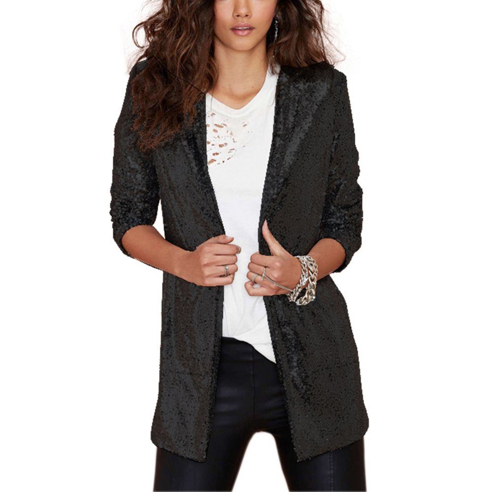 194485afb9098 IRISIE Women Sparkle Sequins Open Front Long Sleeve Blazer Jacket at Amazon Women's  Clothing store: