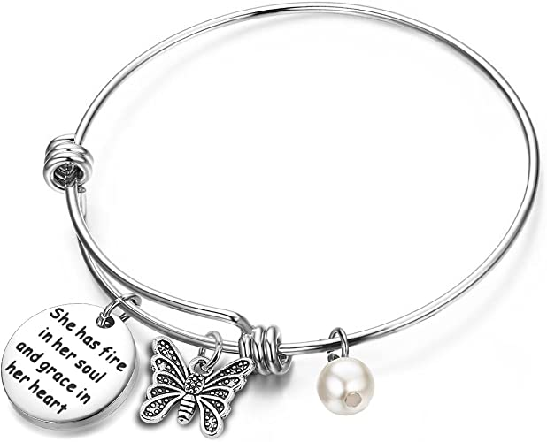 Zuo Bao Inspirational Jewelry Graduation Gifts She Has Fire in Her Soul and Grace in Her Heart Butterfly Charm Bracelet Motivational Gifts for Her