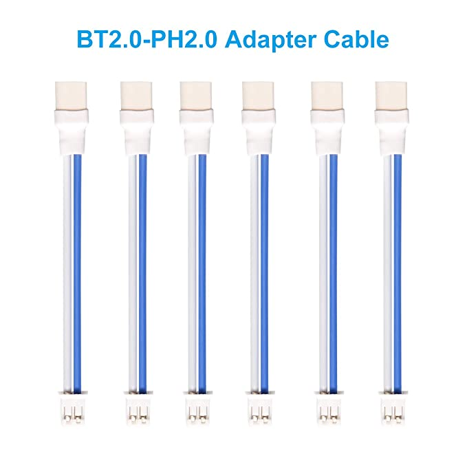 BETAFPV 6pcs BT2.0-PH2.0 Adapter Cable 22AWG for BT2.0 300mAh 1S Battery with 1.0mm Banana Connector Meteor65 1S Brushless Whoop Drone
