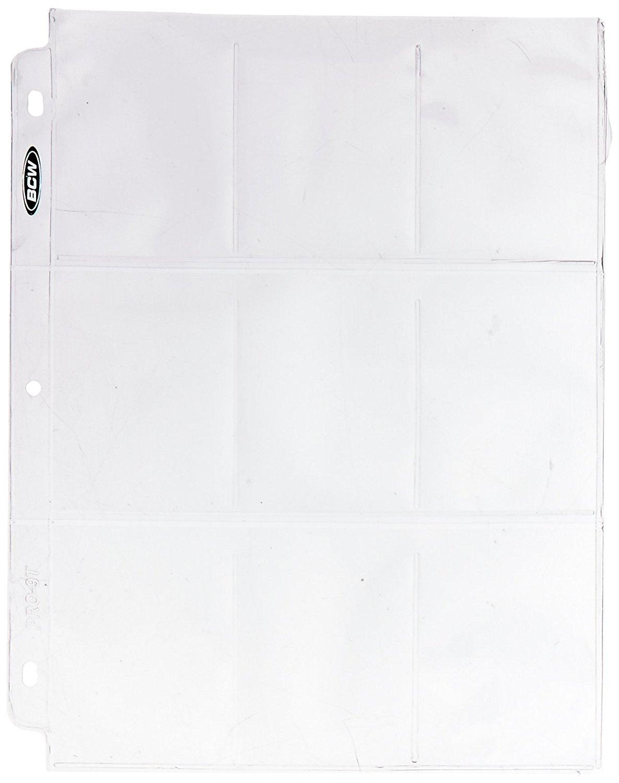 BCW 100 9-Pocket Plastic Sheets