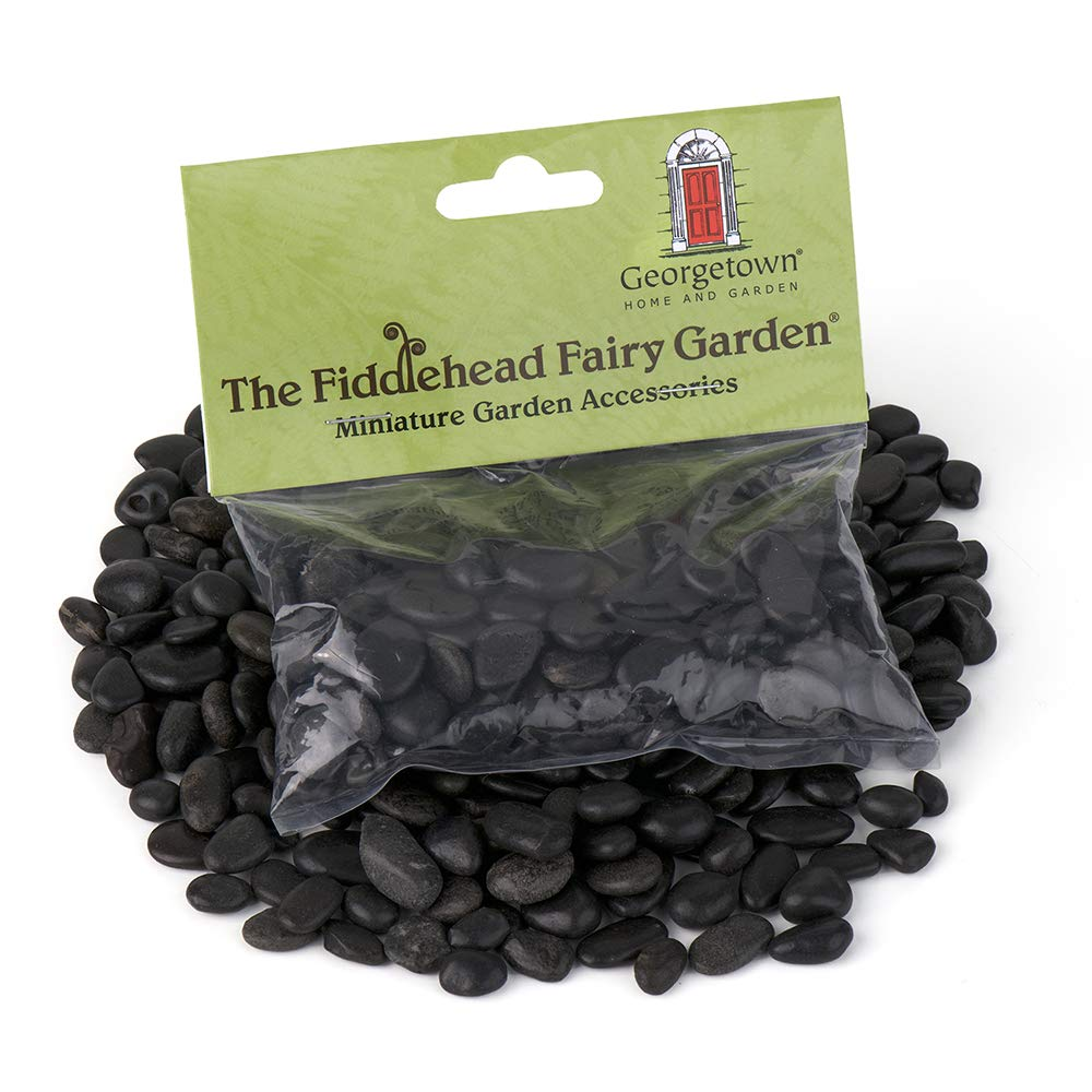 Polished Black Stones for Fairy Gardens and Planters, 8 Ounces