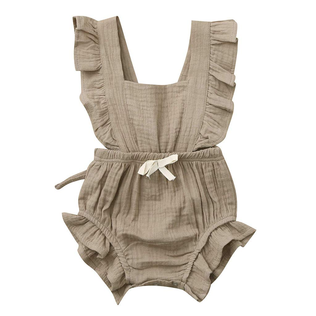 Transer Newborn Baby Girl Ruffles Bodysuits Romper One-Piece Fly Sleeve Cotton Solid Toddler Clothes 3M-24M