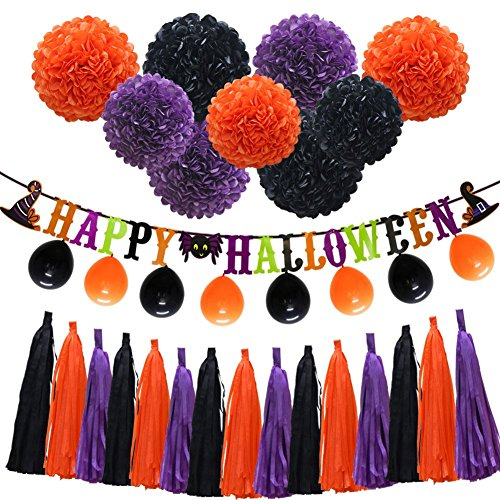 "Halloween Orange Purple Black Party Decorations, ""Happy Halloween"" Banner, Balloons, Tissue Paper pom poms Flowers, Tassel DIY Party Garland, Birthday Party, Baby Shower, Festival -"