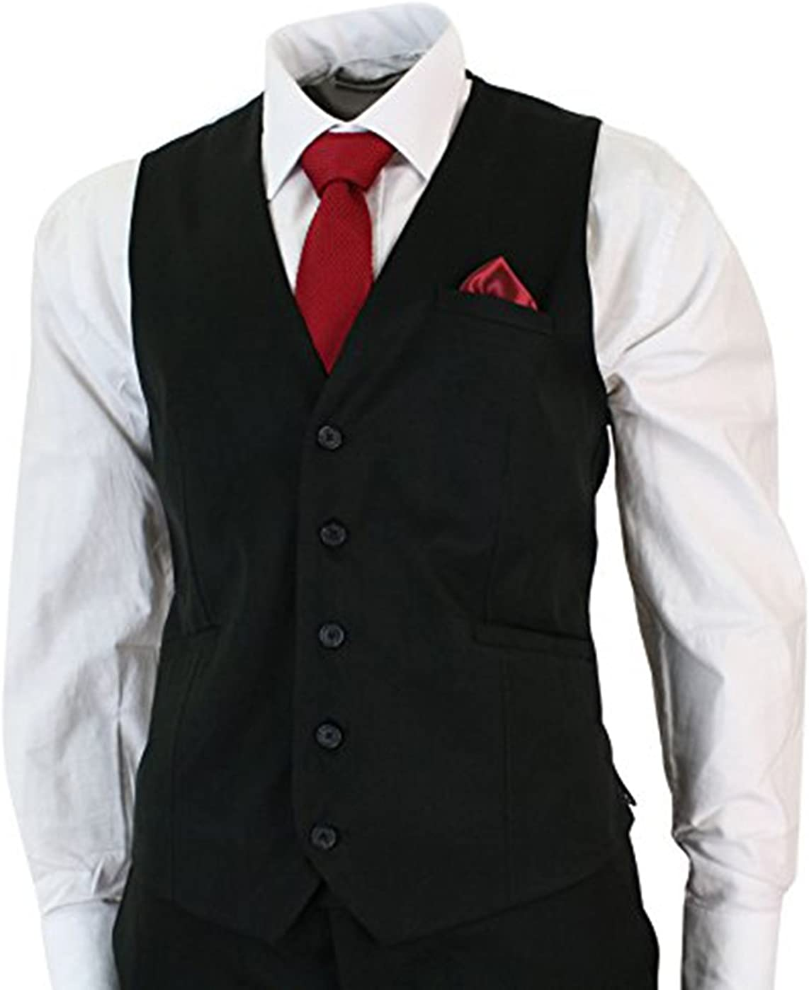 UGFashions Mens Fitted Black 3 Piece Wedding Suit