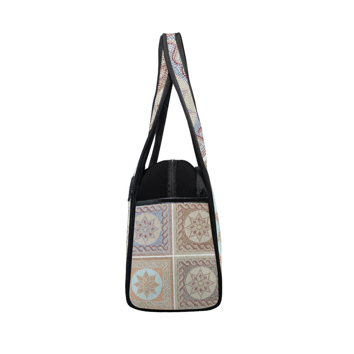 Sport Gym Bag Vintage Marble Ceramic Tile Medallion Canvas Travel Duffel Bag