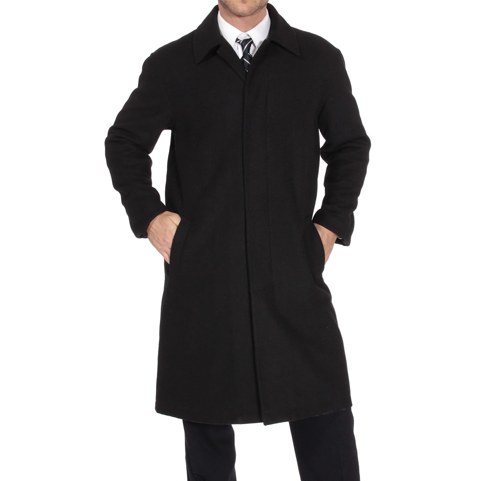 alpine swiss Zach Mens Wool Trench Coat Knee Length Overcoat Black Lrg