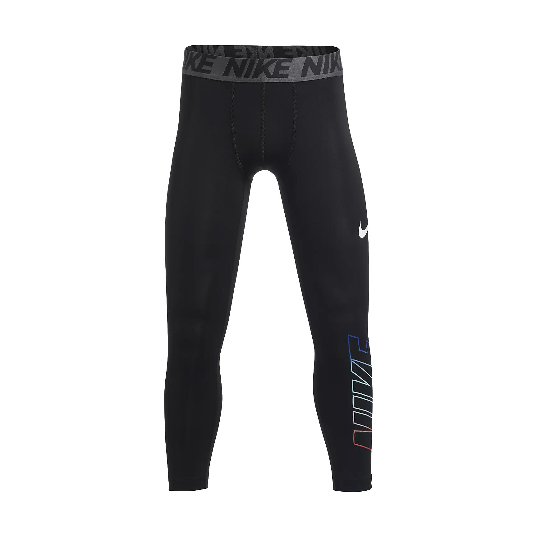 NIKE Boy`s Base Layer 3/4 Training Tights (Black (856121-010)/Anthracite/Black, Small) by NIKE