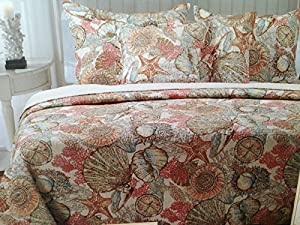 brushed ashore beach house coastal 3 piece king size quilt u0026 king size pillow shams bedroom set coral seashell starfish tropical nautical
