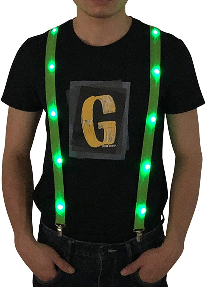 LED Light up Suspenders, Adjustable Y Shape Suspenders Novelty Party Supplies