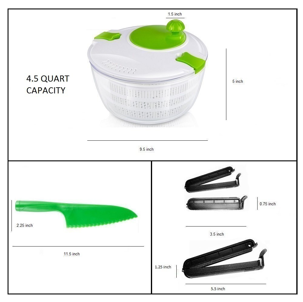 OLIVIA & AIDEN Salad Spinner Set - Includes Large Salad Spinner With Colander and Dishwasher Safe Bowl, Lettuce Knife, and 3 Airtight Bag Clips - Salad Prep Set | 4.5 Quart by Olivia's Home Goods (Image #3)