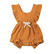 YOUNGER TREE Toddler Baby Girl Ruffled Collar Sleeveless Romper Jumpsuit Clothes (Yellow, 0-3 Months)