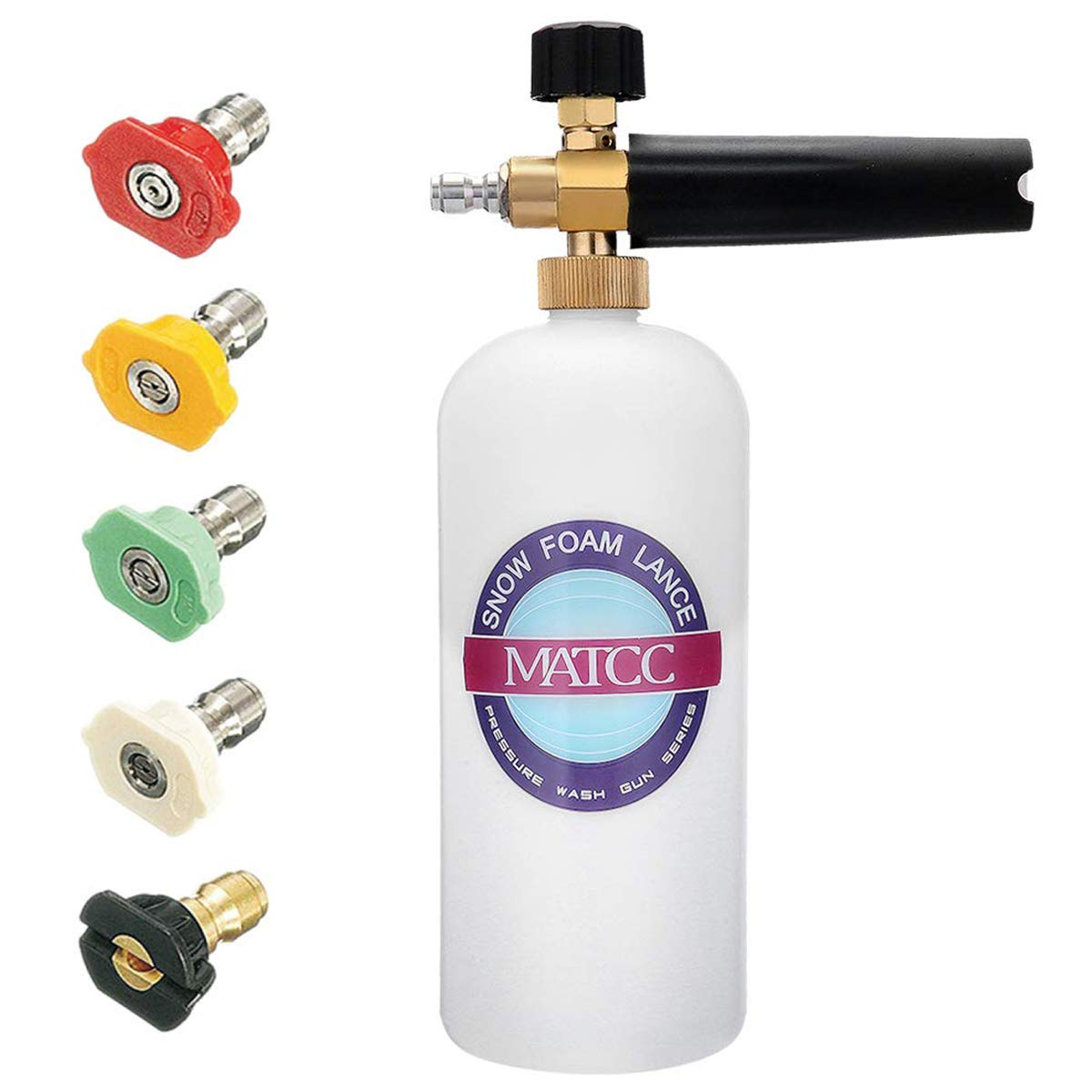 MATCC Foam Cannon Snow Foam Lance Pressure Washer Jet Wash with 1/4'' Quick Connector Foam Blasters 5 Power Washer Nozzle Tips for Cleaning by MATCC