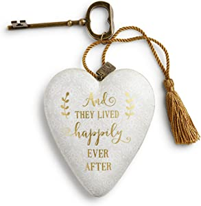 DEMDACO Happily Ever After Damask Lace 4 x 3 Heart Shaped Resin Keepsake Decoration