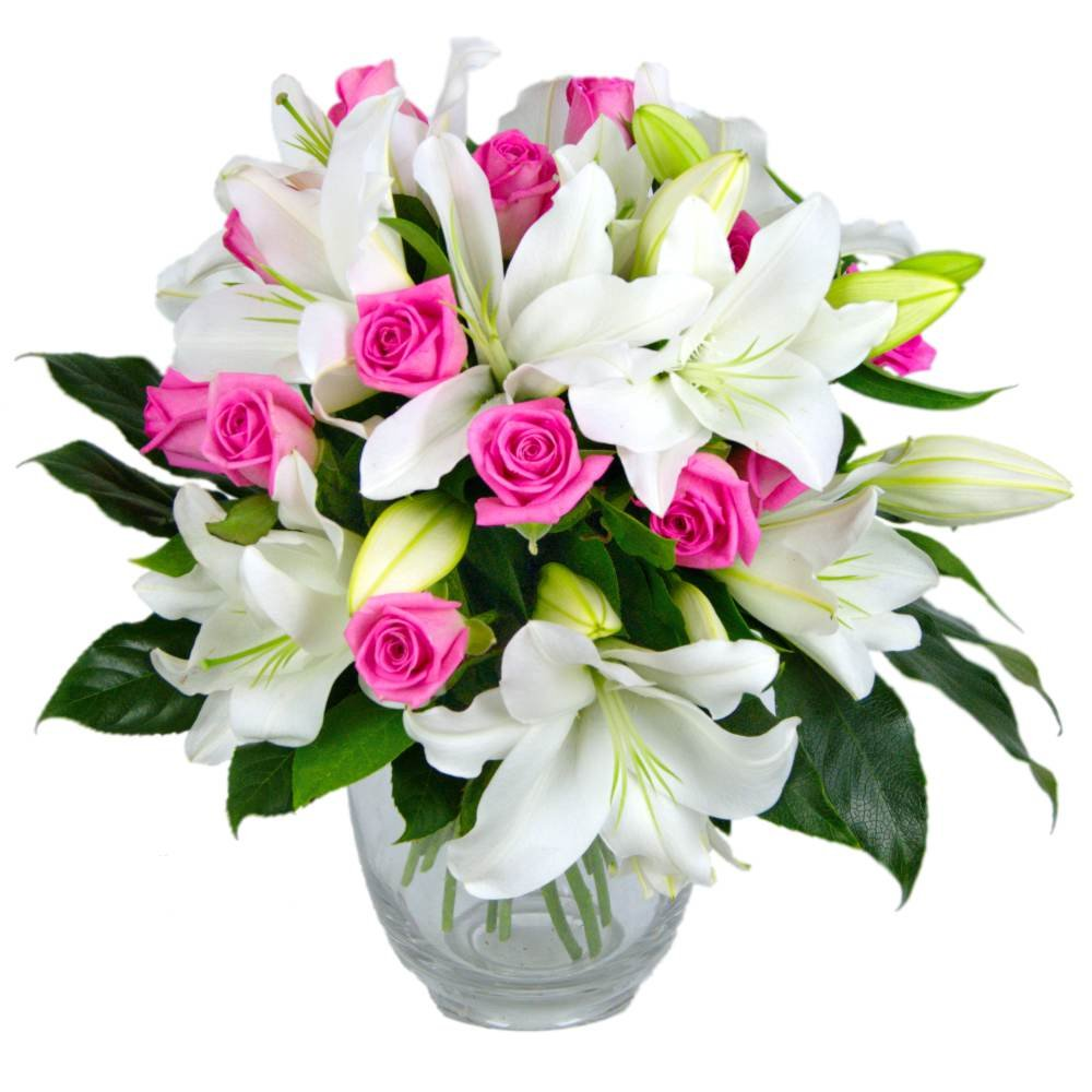 Clare Florist Rose and Lily Fresh Flower Bouquet - Splendid White Lilies and Gorgeous Pink Roses