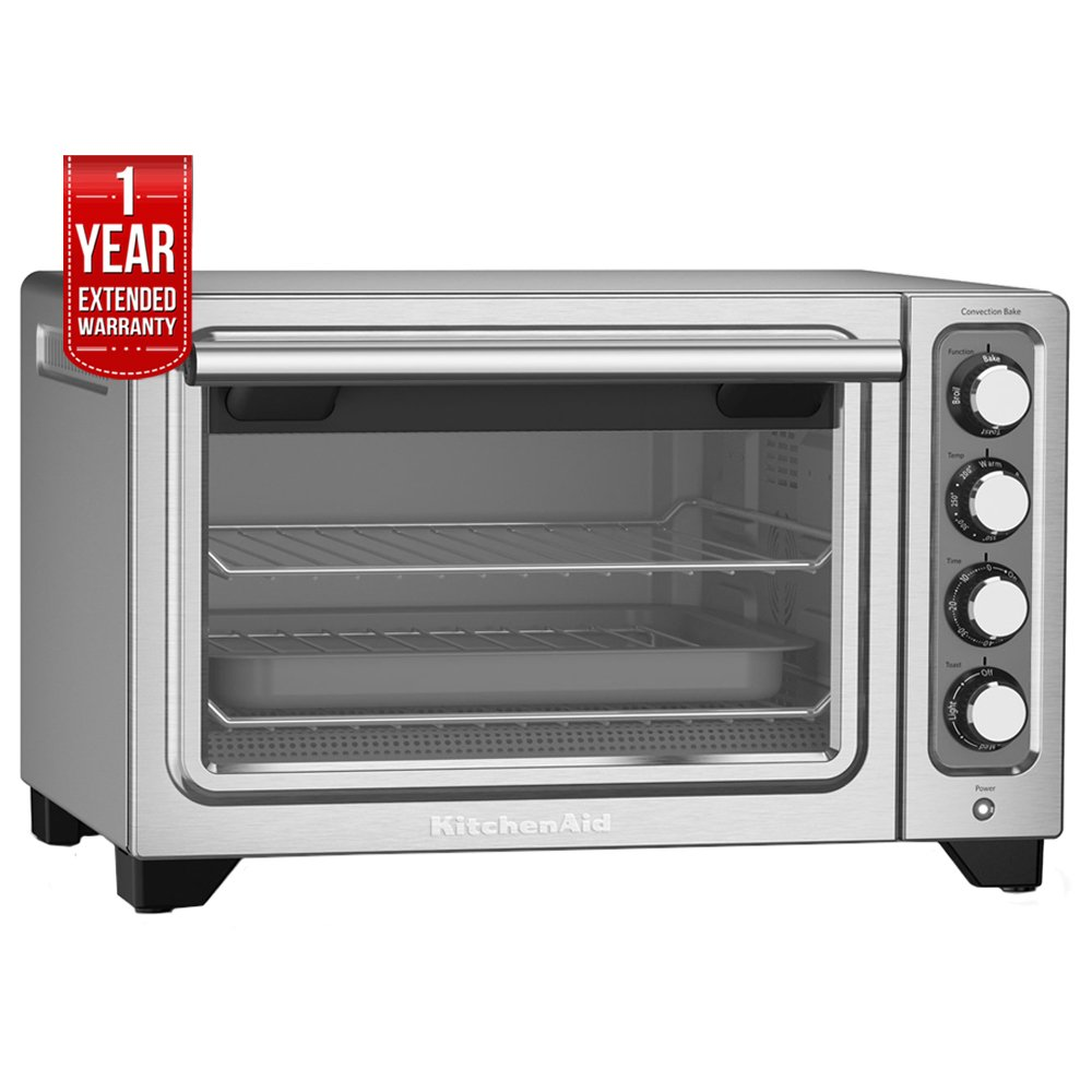 KitchenAid 12-Inch Compact Convection Countertop Oven - Contour Silver Refurbished (KCO253CU) with 1 Year Extended Warranty