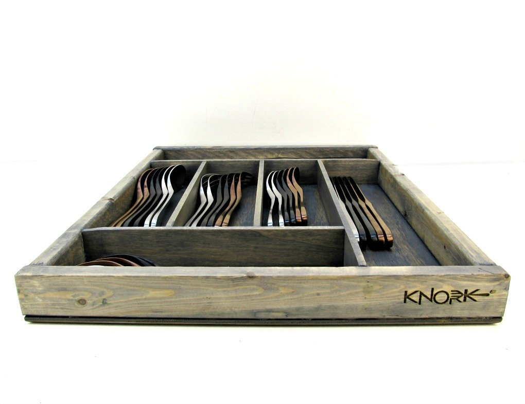 Knork 403 Storage Tray/Flatware Organizer, Large, Weathered Gray