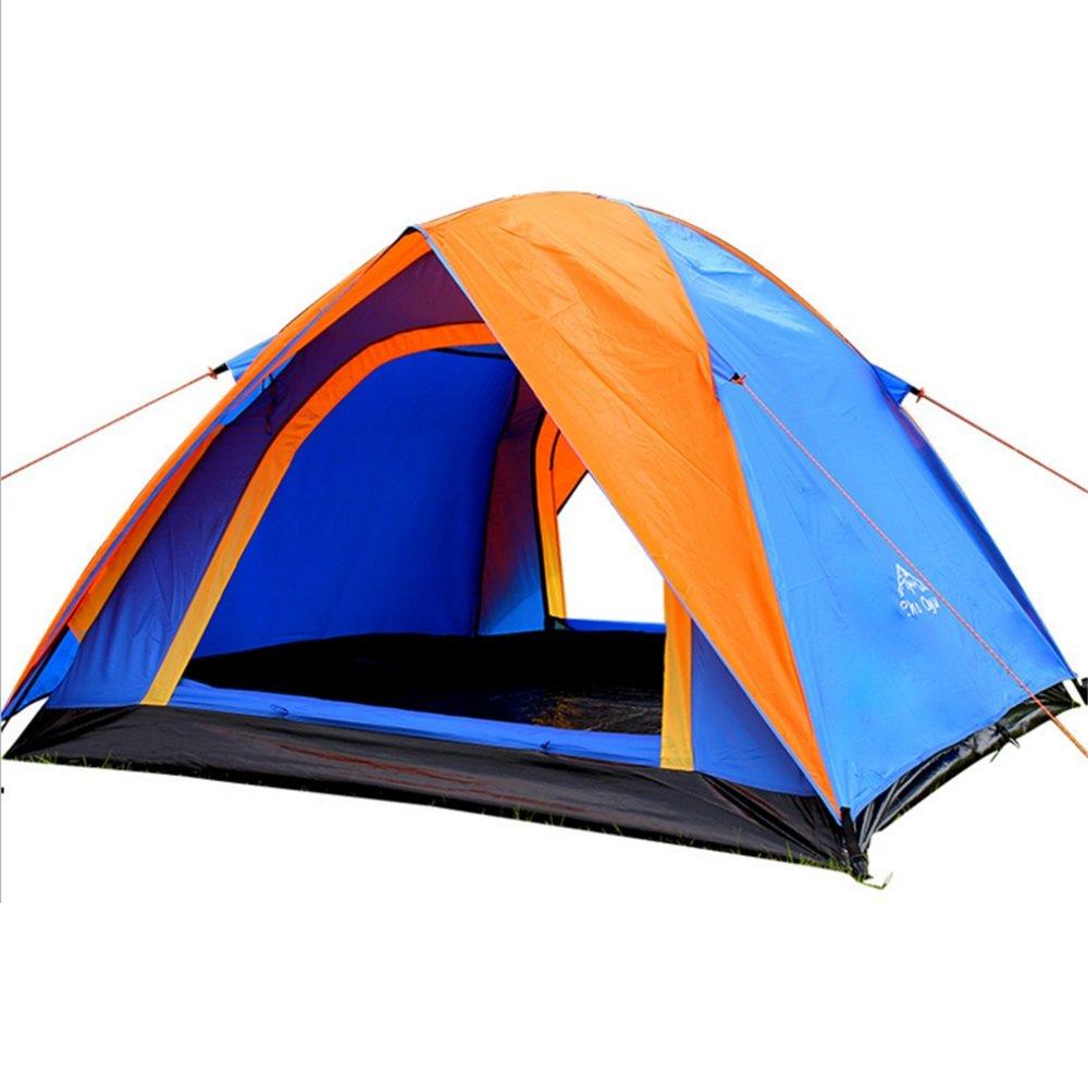 屋外キャンプテント、キャンプテント、ダブルドアダブルドア圧力接着剤、豪雨 B07CBQ12MN、3マンテントオレンジ/ブルー B07CBQ12MN, ニュークイック:c60091e8 --- ijpba.info